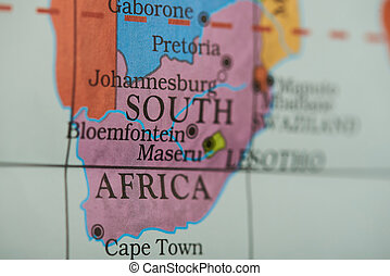 South africa country on paper map