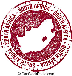 South Africa Country Stamp - Vintage style distressed rubber...