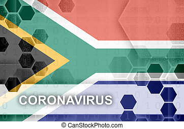 South Africa flag and futuristic digital abstract composition with Coronavirus inscription. Covid-19 outbreak concept