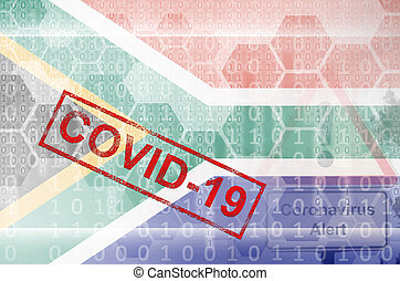 South Africa flag and futuristic digital abstract composition with Covid-19 stamp. Coronavirus outbreak concept