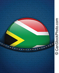South Africa Flag Button in Jeans Pocket