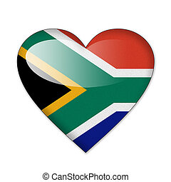 South Africa flag in heart shape isolated on white background
