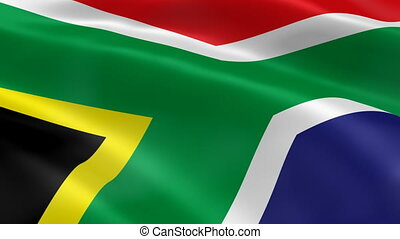 South Africa flag in the wind