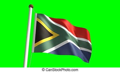 3D South Africa flag video (seamless & green screen)