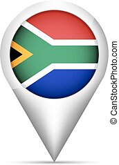 South Africa flag map pointer with shadow. Vector illustration