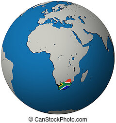 south africa flag on globe map - south africa territory with...