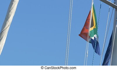 South Africa Flag on Mast - South African flag waving in the...