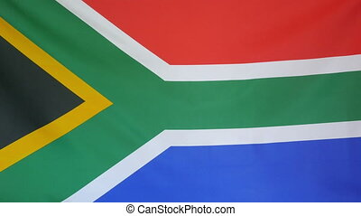South Africa Flag real fabric close - Textile flag of South...