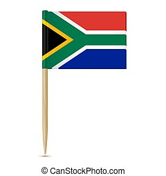 South Africa flag toothpick on white background