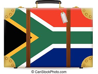 South Africa flag travel suitcase