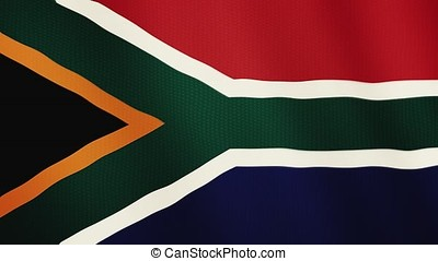 South Africa flag waving animation. Full Screen. Symbol of the country.