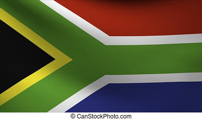 south africa flag waving gently in wind