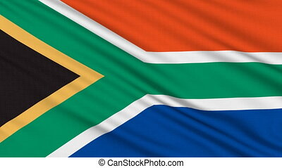 South Africa  flag, with real structure of a fabric