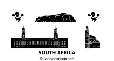 South Africa flat travel skyline set. South Africa black city vector illustration, symbol, travel sights, landmarks.