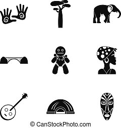 South africa icons set, simple style