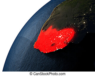 South Africa in red on Earth at night