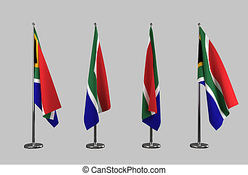South Africa indoor flags isolate on white background