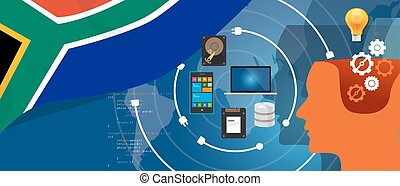 South Africa IT information technology digital infrastructure connecting business data via internet network using computer software an electronic innovation