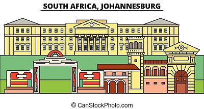 South Africa, Johannesburg. City skyline, architecture, buildings, streets, silhouette, landscape, panorama, landmarks. Editable strokes. Flat design line vector illustration concept. Isolated icons