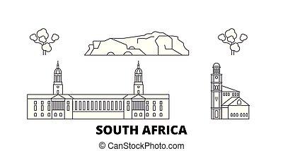 South Africa line travel skyline set. South Africa outline city vector illustration, symbol, travel sights, landmarks.