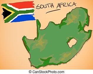 South Africa Map and National Flag Vector