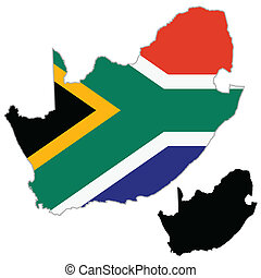 South Africa map flag on a white background. Vector...