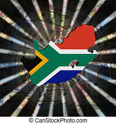 South Africa map flag on currency burst illustration