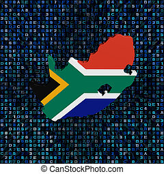 South Africa map flag on hex code illustration