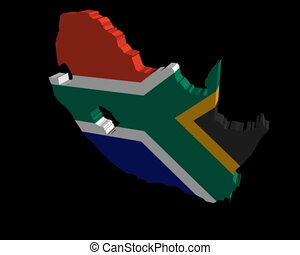 South Africa map flag rotating on black animation