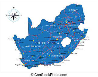 Highly detailed vector map of South Africa with administrative regions, main cities and roads.