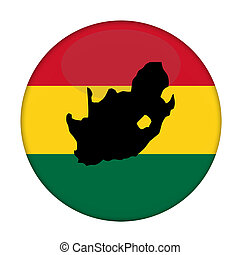 South Africa map on a Rastafarian flag button