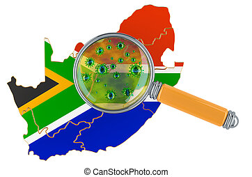 South Africa map with coronavirus under magnifier, 3D rendering