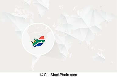 South Africa map with flag in contour on white polygonal World Map.