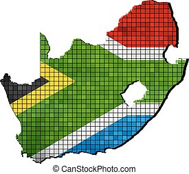 South Africa map with flag inside