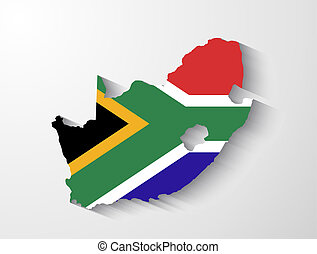 South Africa map with shadow effect presentation