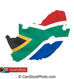 South Africa map with waving flag of country.