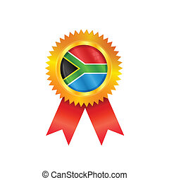 South Africa medal flag - Gold medal with the national flag...