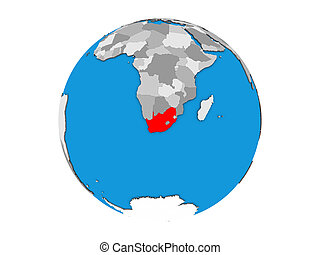 South Africa on 3D globe isolated