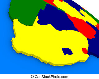 South Africa on colorful 3D globe