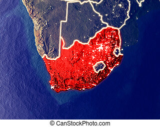South Africa on Earth at night