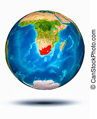 South Africa on Earth with white background