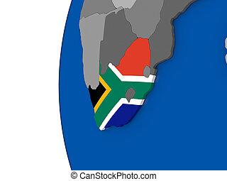 South Africa on globe