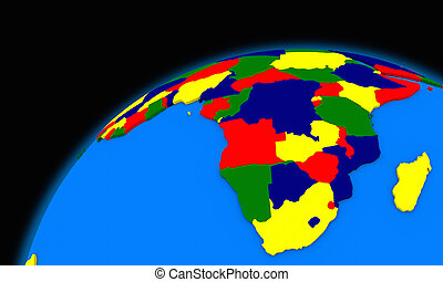 south Africa on planet Earth political map