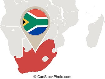 South africa map on a world map with flag and map pointer south africa on world map gumiabroncs Choice Image