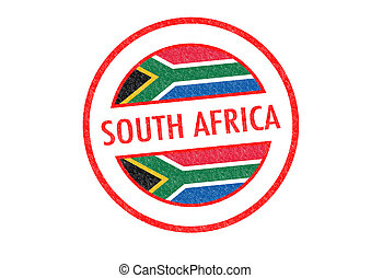 SOUTH AFRICA - Passport-style SOUTH AFRICA rubber stamp over...