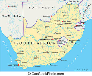 South Africa Political Map - Political map of South Africa ...
