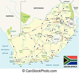 south africa road vector map with flag