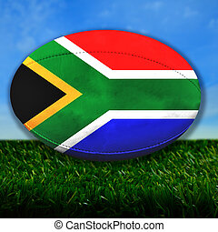 South Africa Rugby - Rugby ball with South Africa flag over...