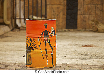 South Africa Rural Art Painted on a oil can