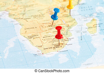 South Africa with marking peg concept for travel in South...